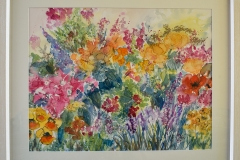 Summer Flowers. I was thinking of a border of flowers in a summer garden when I painted this, lots of colour and a free loose style.