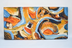 Orange and Blue Abstract. I love complimentary colours and thick paint, painted with expressive marks and tonal variations.