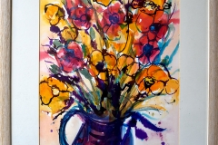 Flower bouquet. Bold and beautiful in inks and watercolour, a lovely piece for a large wall.