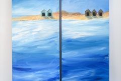 Beach Huts 1 & 2. A pair of paintings that can hang together, great for a house by the sea. They make you feel happy and Summery.