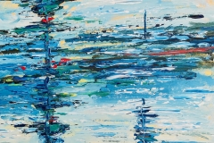 Water abstract in blue. Acrylic in board.  40 x 40cms.  [SOLD, BUT CAN PAINT SIMILAR].