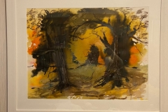 Spooky Woods. Framed watercolour and ink. 98cms x 80cms, white frame and glass. £100.