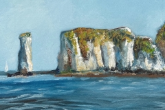 """Old Harry. Oil on a 10"""" square deep canvas. £55.00. [SOLD, BUT CAN PAINT SIMILAR]."""