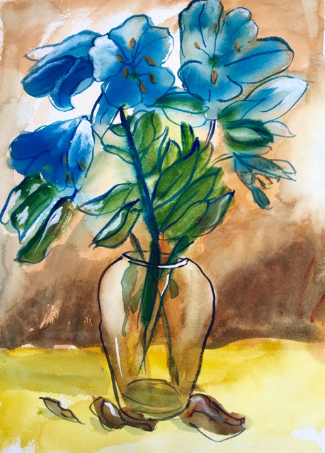 Dufy style painting made from photograph of vase of flowers. Painting by Penny Wilton.