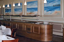 Interior shot showing Penny Wilton's artwork at Sandbanks Hotel, Poole.