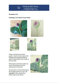 Worksheet 18 - Painting a rosebud in watercolour.
