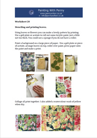 Worksheet 20 - Stencilling and printing leaves.